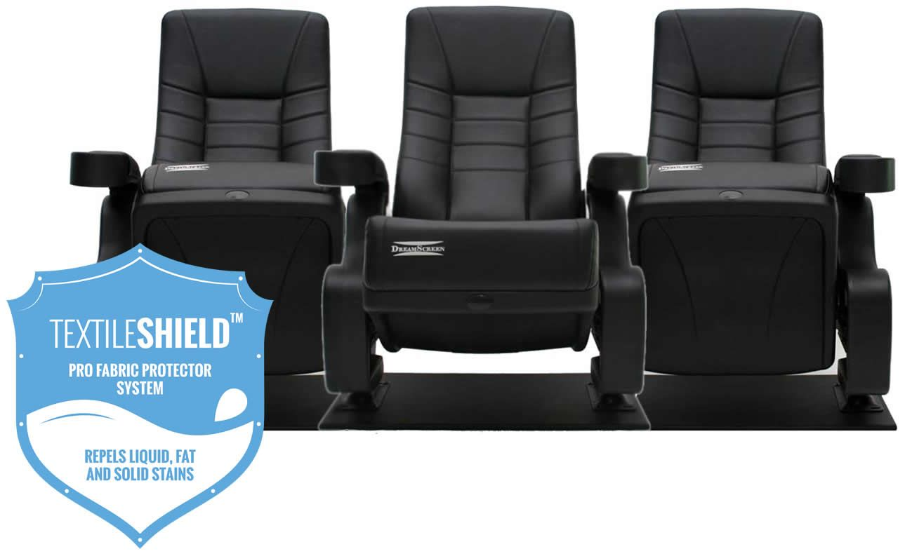 DreamScreen CINESEAT THEATRE MED TEXTILESHIELD BLACK FABRIC 3-SETER
