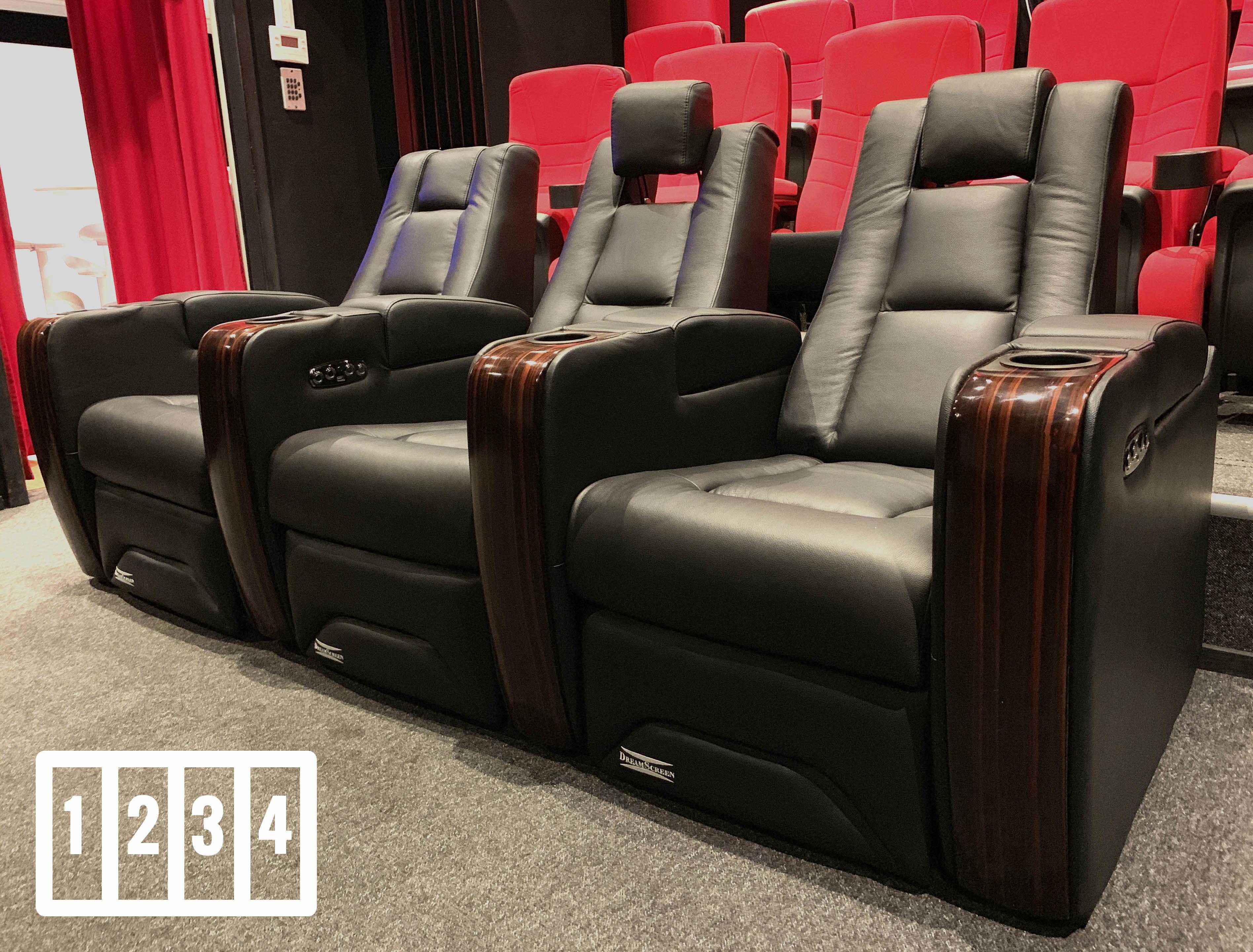 DreamScreen CineSeat ProMotor v4 Motorisert Recliner 4-seter Skinn Sort