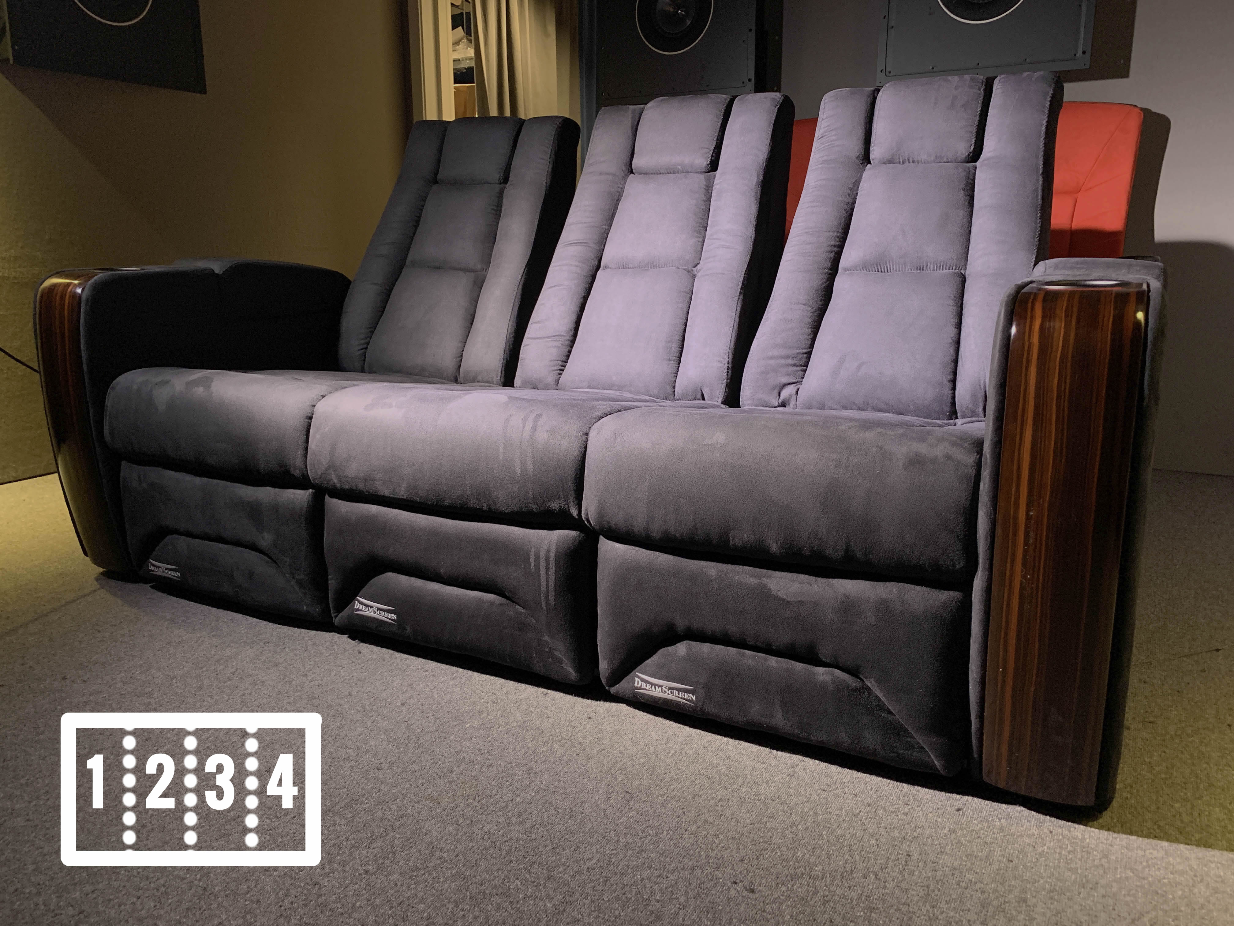 DreamScreen CineSeat ProMotor v4 Motorisert Recliner 4-seter TextileShield Mikrofiber Sort LOVESEAT
