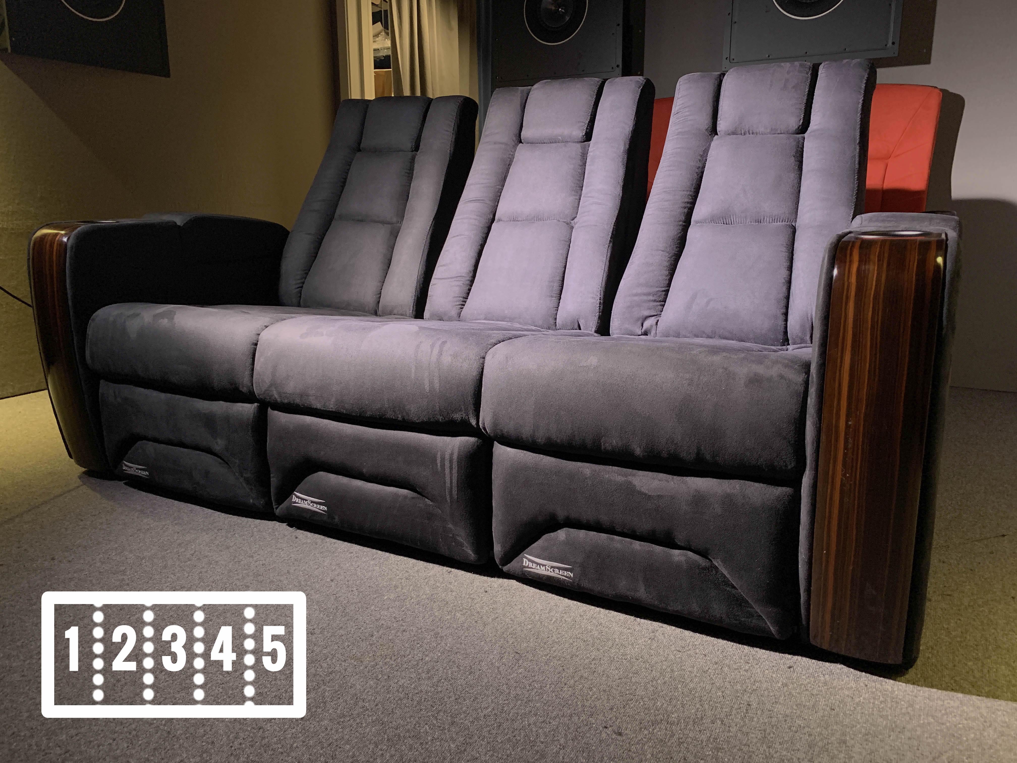 DreamScreen CineSeat ProMotor v4 Motorisert Recliner 5-seter TextileShield Mikrofiber Sort LOVESEAT