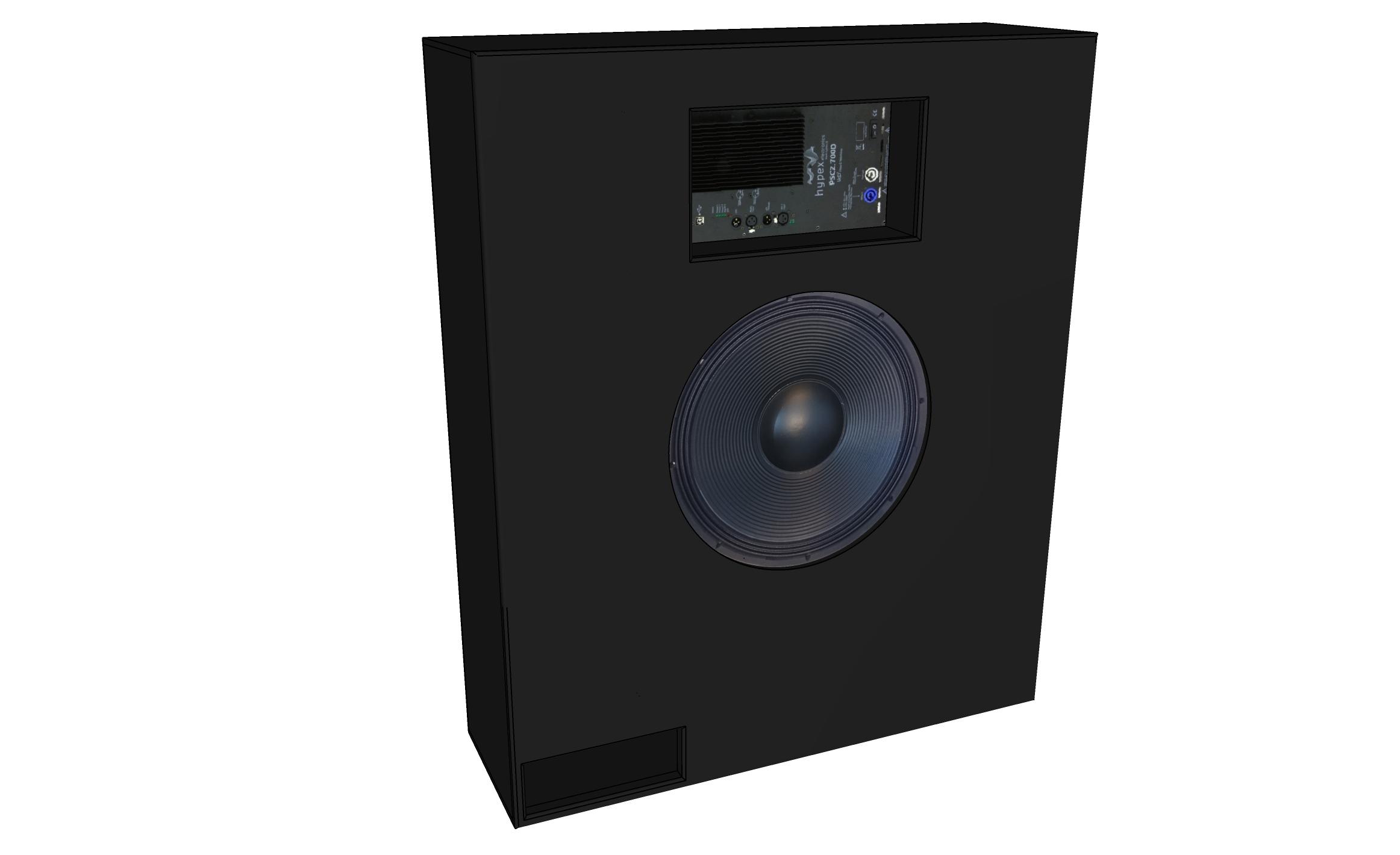 AVshop baffelvegg subkasse for 18″ driver og Hypex amp -KUN KABINETT-