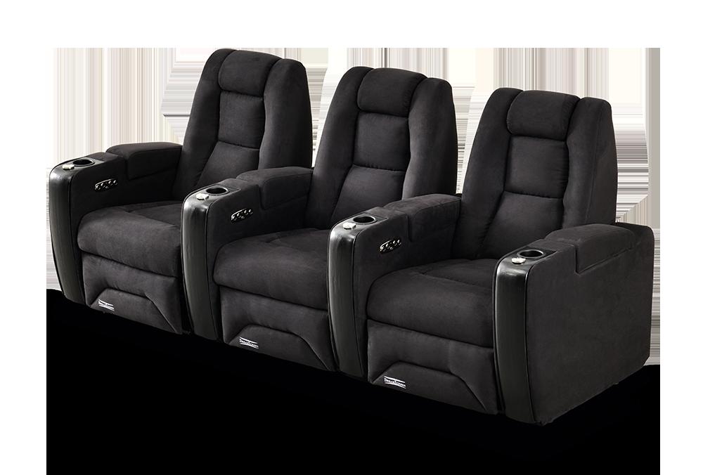 DreamScreen CineSeat ProMotor v4 Motorisert Recliner 3-seter TextileShield Mikrofiber Sort