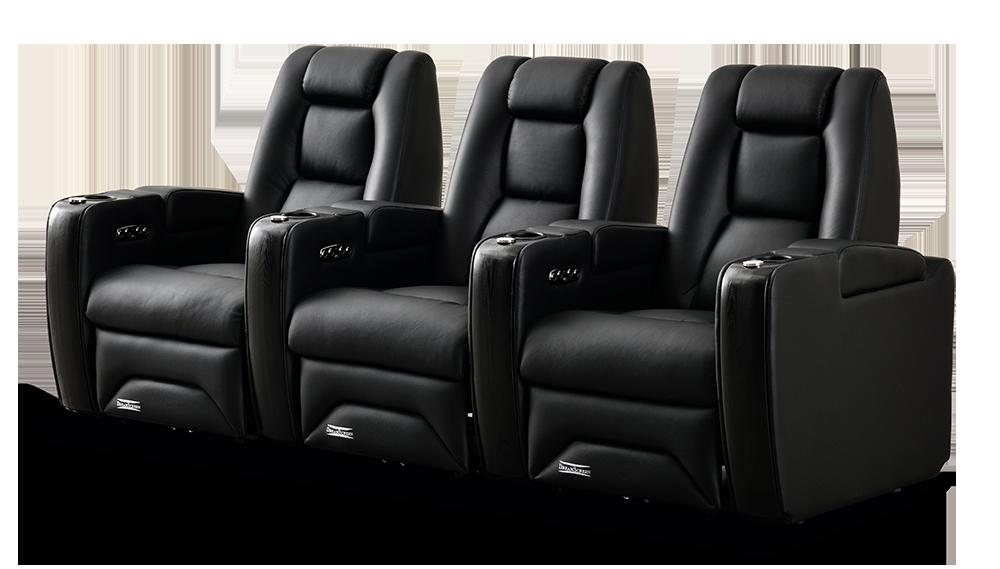 DreamScreen CineSeat ProMotor v4 Motorisert Recliner 3-seter Leather Sort