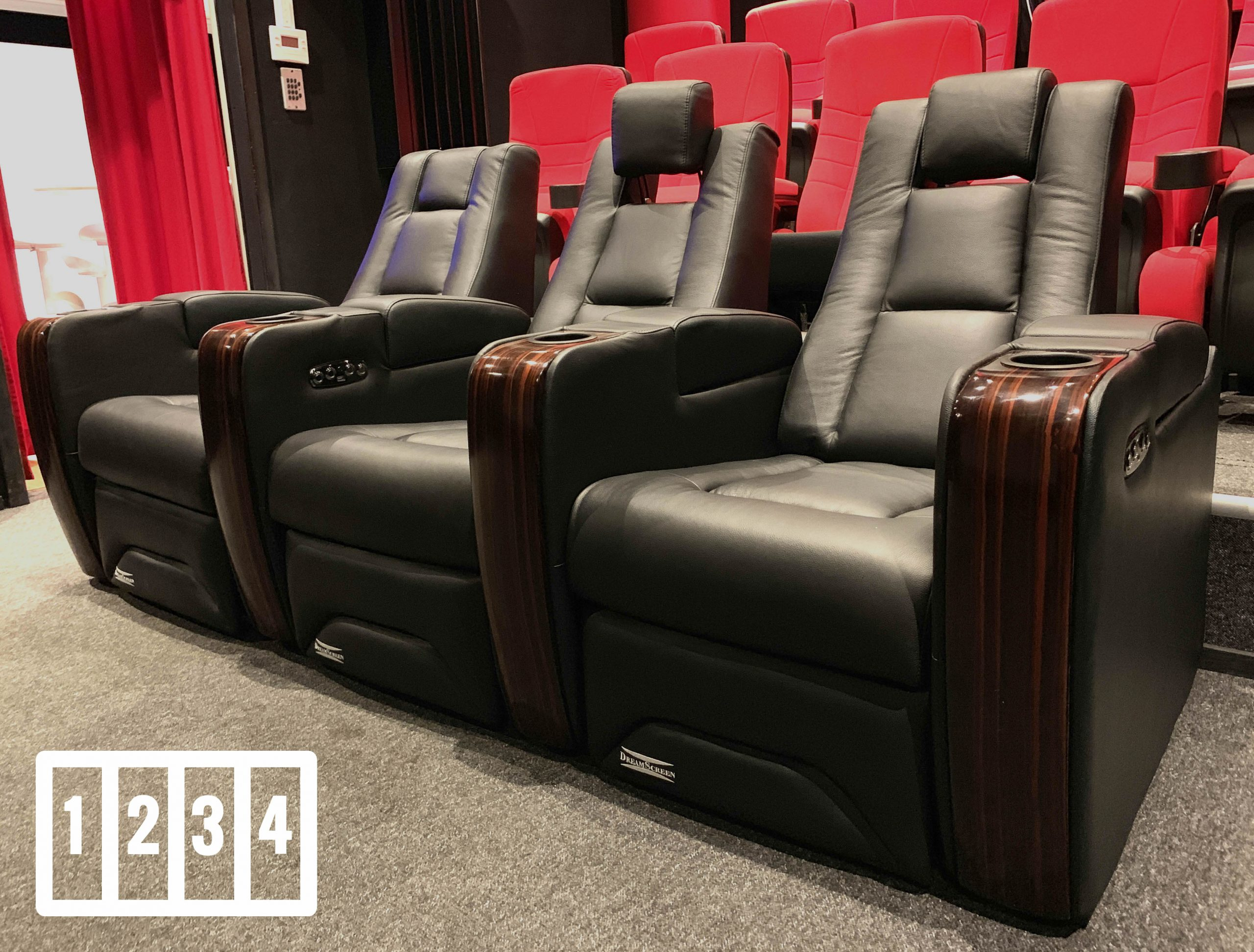 DreamScreen CineSeat ProMotor v4 Motorisert Recliner 4-seter Skinn Sort POWERBUY
