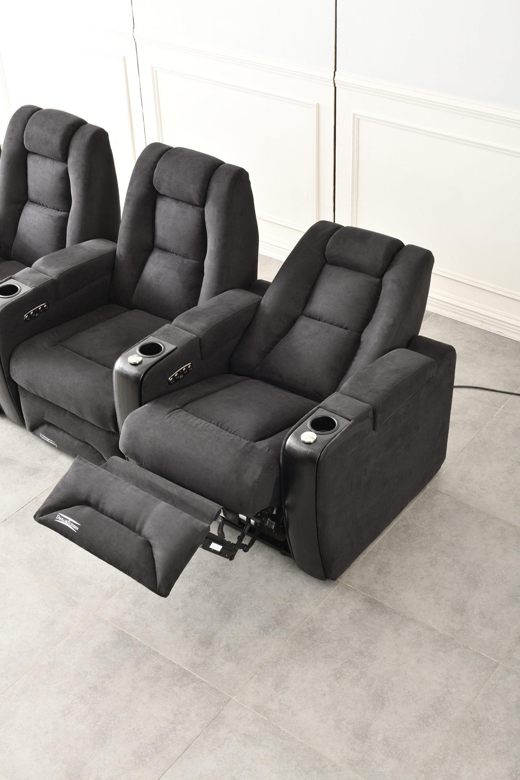 DreamScreen CineSeat ProMotor v4 Ekstrastol til 3-seter TextileShield Mikrofiber Sort